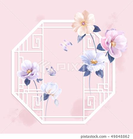 中國風水墨花卉和邀請卡設計 49848862