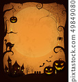 Scary Dark Halloween Poster with Spooky Objects 49849080