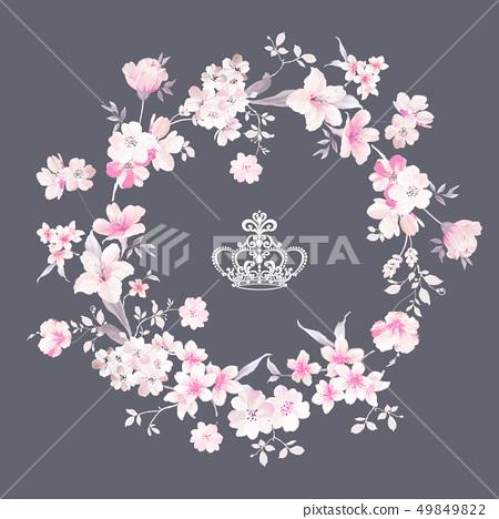 우아한 수채화 꽃 및 초대장 카드 디자인 49849822
