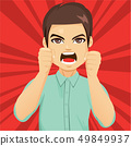 Enraged angry man shaking fists 49849937