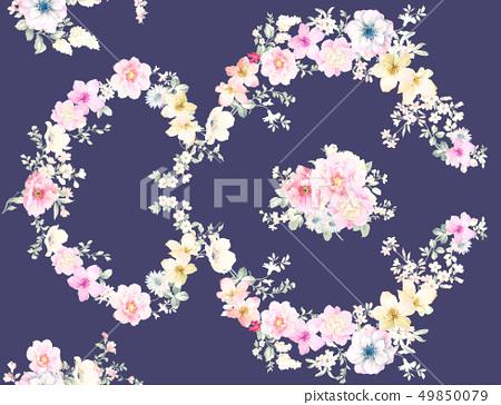 色彩豐富的水墨花卉和優雅牡丹 49850079