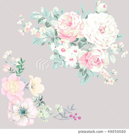色彩豐富的水墨花卉和優雅牡丹 49850080