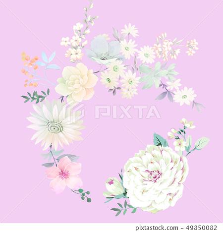 色彩豐富的水墨花卉和優雅牡丹 49850082