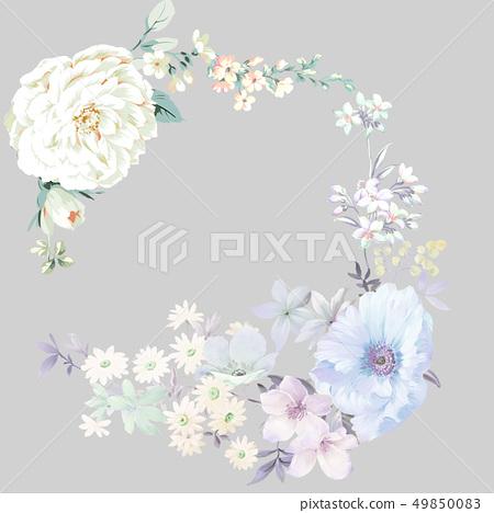 色彩豐富的水墨花卉和優雅牡丹 49850083