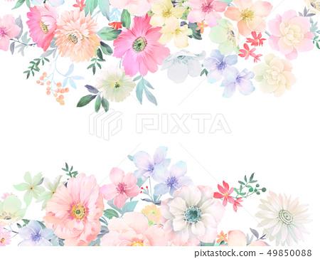 色彩豐富的水墨花卉和優雅牡丹 49850088