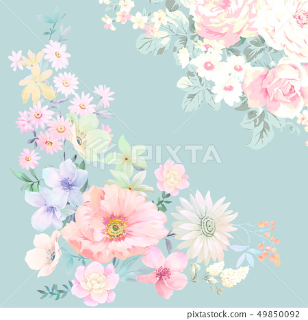 色彩豐富的水墨花卉和優雅牡丹 49850092