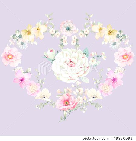 色彩豐富的水墨花卉和優雅牡丹 49850093