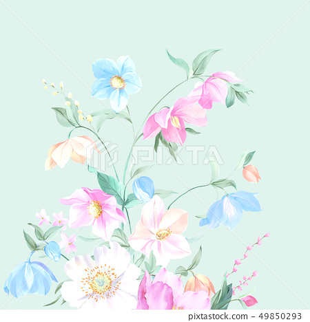 Colorful watercolor flowers and peony 49850293