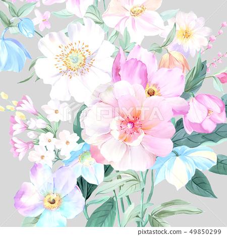顏色豐富的水彩花卉和牡丹 49850299
