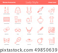 Woman Accessories Outline Icons Set 49850639