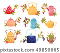 Flowers in colored teapots on white background. 49850665