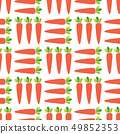 Carrots seamless vector pattern. Vegetable field background. 49852353