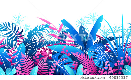 Tropical Plants  Colorful  Seamless Pattern 49853337