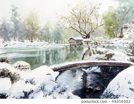金澤Kenrokuen素描畫水彩畫雪景雪掛 49856982