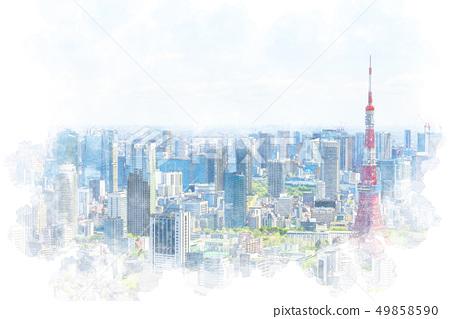 在東京水彩風格的城市景觀 49858590
