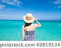 오키나와의 바다와 여성 홀로 여행 49859534