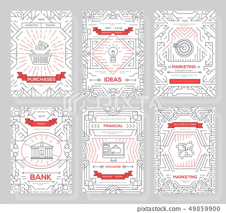 Business vector brochure cards thin line set. Marketing template of flyear, magazines, posters, book 49859900