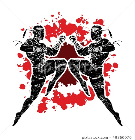Muay Thai fighting , Thai boxing jumping to attack 49860070
