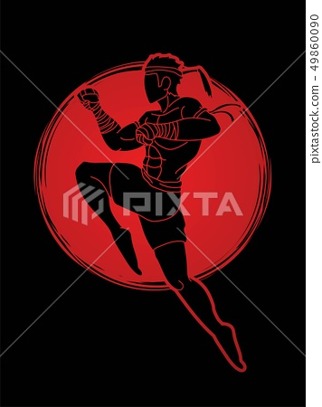 Muay Thai fighting , Thai boxing jumping to attack 49860090