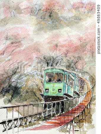 Nagafuna Oka城堡廢墟公園宮城縣柴田町單軌鐵路車 49863409
