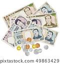 ภาพประกอบภาพธนบัตรและเหรียญใหม่ที่ยุ่งเหยิง 49863429