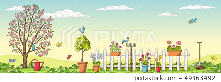 Spring Landscape With Gardening Tools 49863492