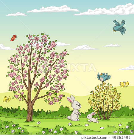 Spring Landscape With Rabbits 49863493