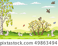 Spring Landscape With Rabbits 49863494
