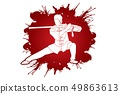 Man with sword action, Kung Fu pose graphic vector 49863613