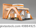 3d Illustrated unique creative exhibition stand display design with table and chair, info board 49864925