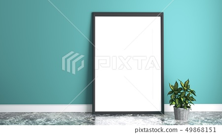 White picture frame. 3D rendering 49868151