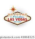 Classic retro Welcome to Las Vegas sign. Vector 49868325