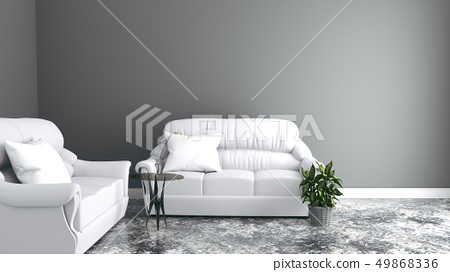 Sofas the wall with table and vase 49868336
