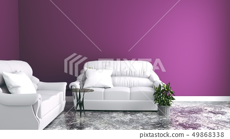 Sofas in the living room, pink walls 49868338