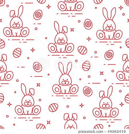Pattern with Easter rabbits, decorated eggs 49868439