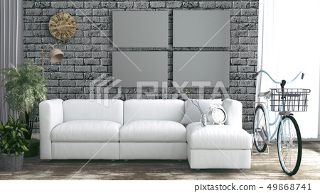 Brick wall empty room interior with loft style 49868741