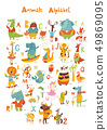 Vector animals abc with cute cartoon animals and letters.  49869095