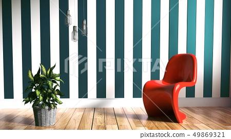 Living Room Scandinavian Style. 3D rendering 49869321
