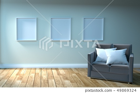 Sofa and picture, wooden floor on empty  49869324