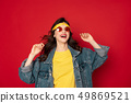 Happy hipster girl enjoying posing on camera 49869521