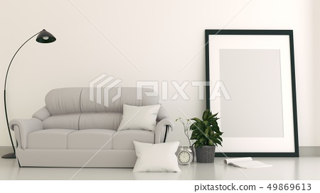 Empty room interior with sofa with frame 49869613