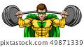 Superhero Mascot Weightlifter Lifting Big Barbell 49871339