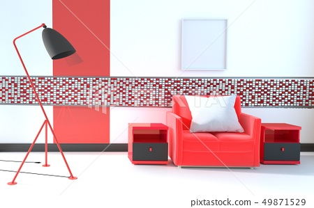 Mosaic red on the wall in living room 49871529