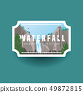 Mountain waterfall and green forest landscape. Waterfall cascade in wild mountain and forest natural 49872815
