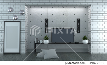 TV on loft style white brick wall background 49872869