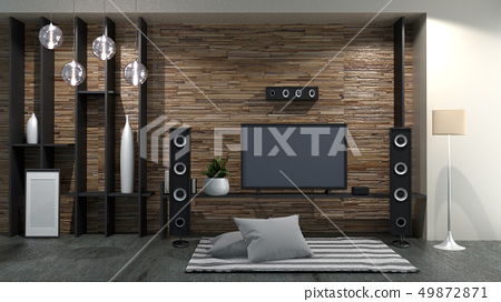 Smart Tv on Modern room interior. 3D rendering 49872871