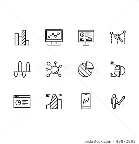 Simple set icons data analytics, strategy, business analysis and business planning, financial graphs 49872983