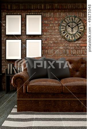 Loft living room interior design 49873048