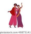 Indian women in traditional sari dancing national dance 49873141