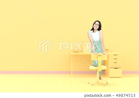 Young Woman on the office chair 49874513